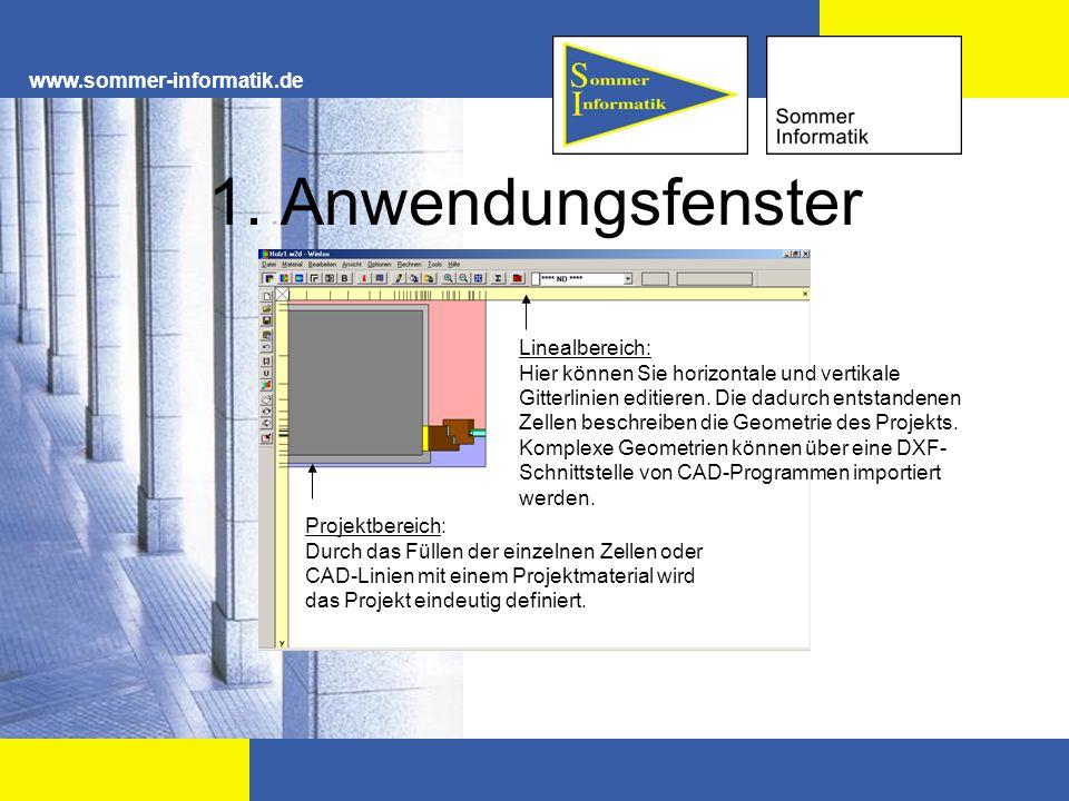 www.sommer-informatik.de 1. Anwendungsfenster Projektbereich: Durch das Füllen der einzelnen Zellen oder CAD-Linien mit einem Projektmaterial wird das