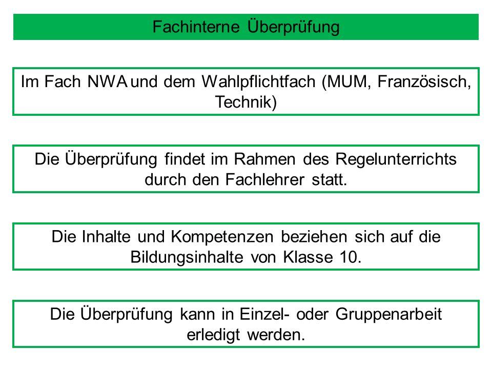 Fachinterne Überprüfung Im Fach NWA und dem Wahlpflichtfach (MUM, Französisch, Technik) Die Überprüfung findet im Rahmen des Regelunterrichts durch den Fachlehrer statt.
