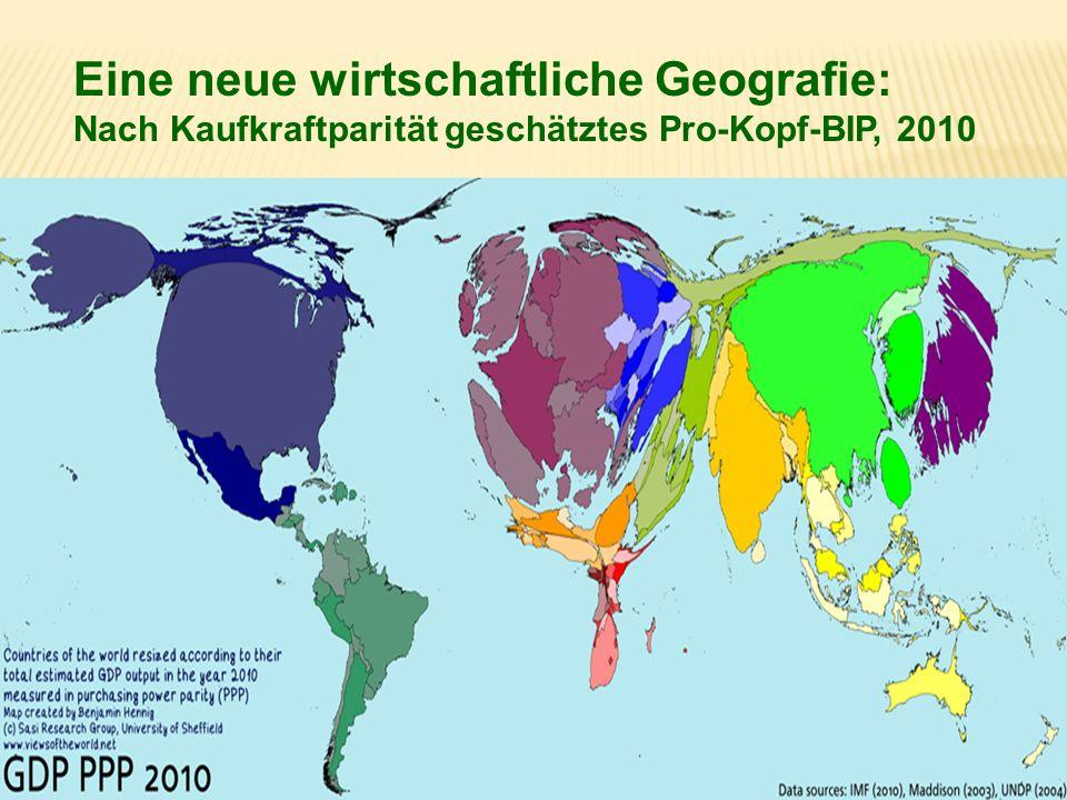 Eine neue wirtschaftliche Geografie: Nach Kaufkraftparität geschätztes Pro-Kopf-BIP, 2010
