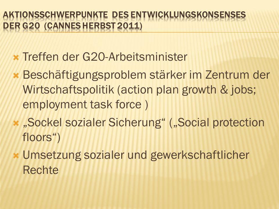 Treffen der G20-Arbeitsminister Beschäftigungsproblem stärker im Zentrum der Wirtschaftspolitik (action plan growth & jobs; employment task force ) Sockel sozialer Sicherung (Social protection floors) Umsetzung sozialer und gewerkschaftlicher Rechte