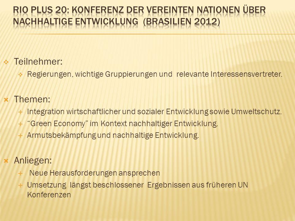 Teilnehmer: Regierungen, wichtige Gruppierungen und relevante Interessensvertreter.