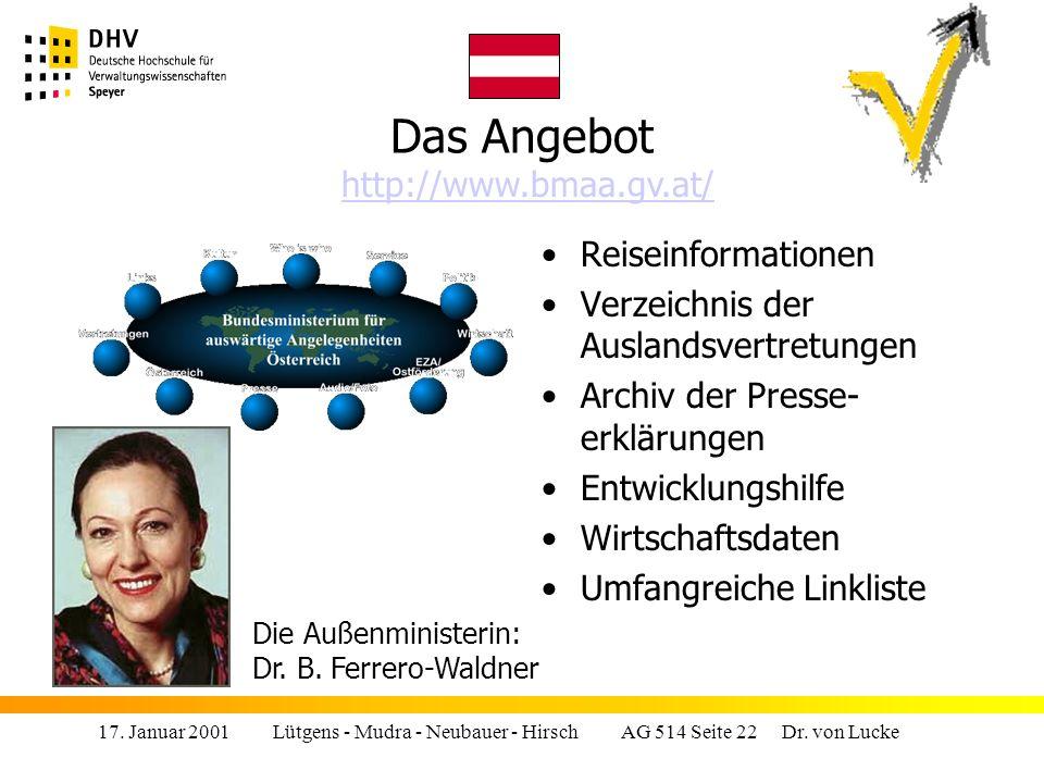17.Januar 2001 Lütgens - Mudra - Neubauer - Hirsch AG 514 Seite 22 Dr.