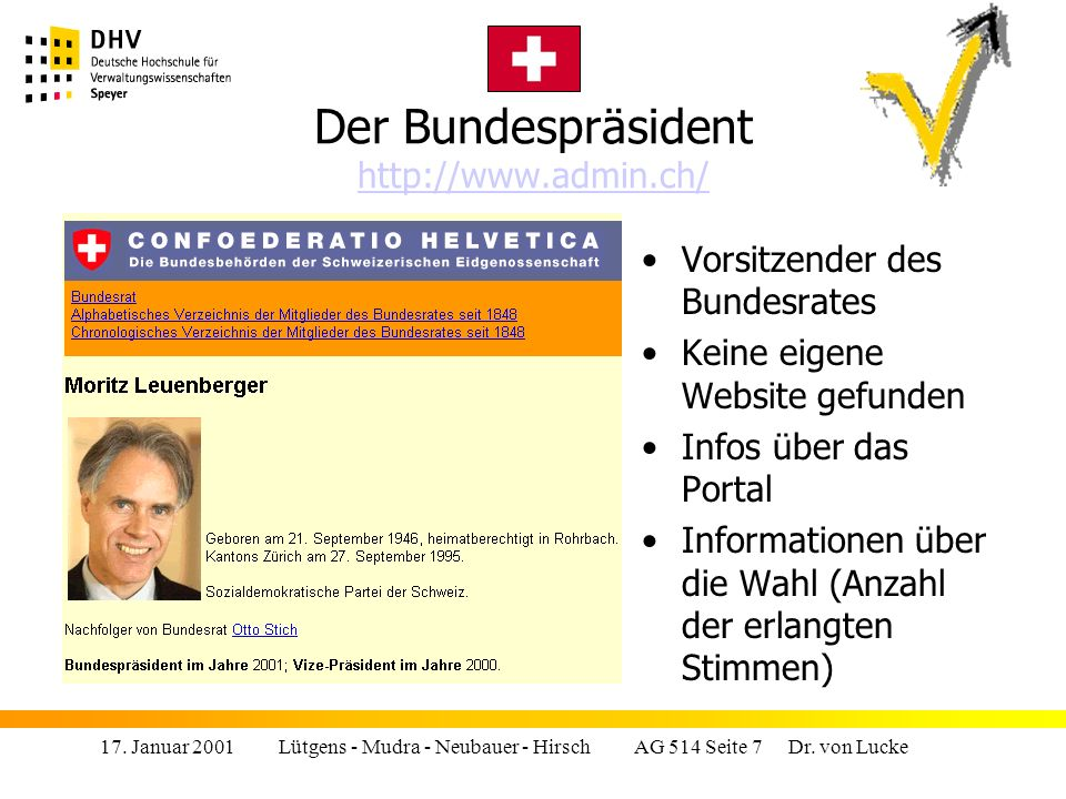 17.Januar 2001 Lütgens - Mudra - Neubauer - Hirsch AG 514 Seite 8 Dr.