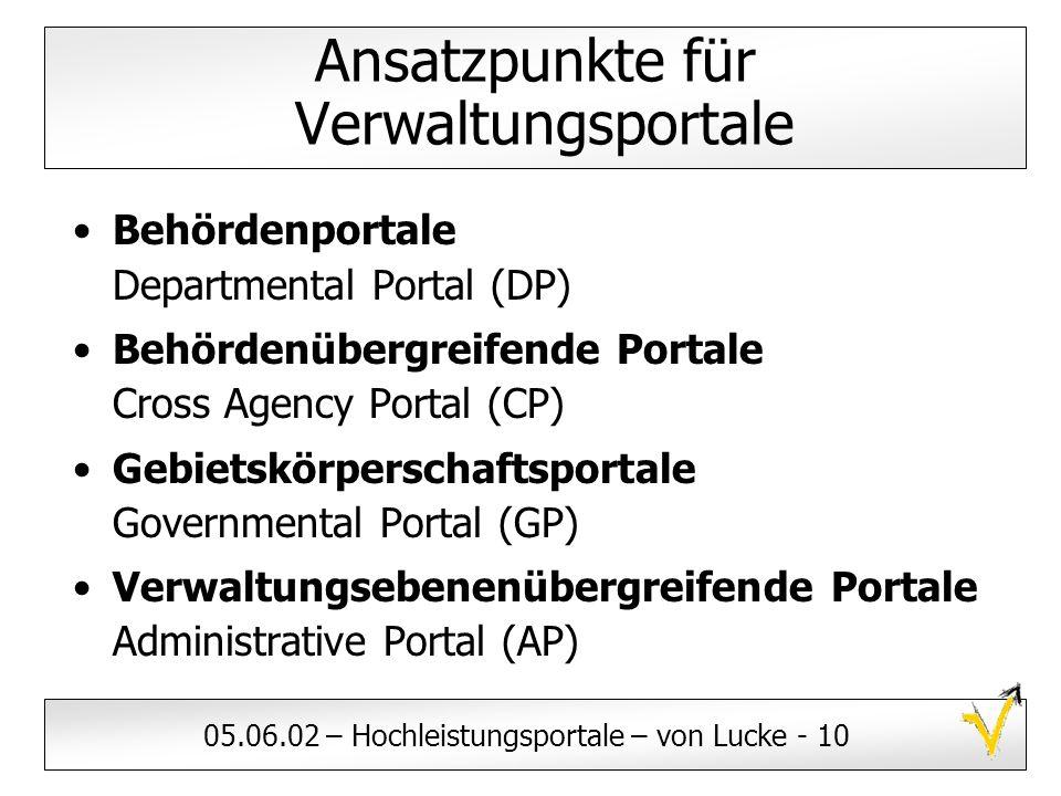 05.06.02 – Hochleistungsportale – von Lucke - 10 Ansatzpunkte für Verwaltungsportale Behördenportale Departmental Portal (DP) Behördenübergreifende Po