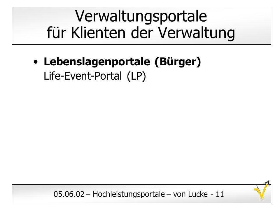 05.06.02 – Hochleistungsportale – von Lucke - 11 Verwaltungsportale für Klienten der Verwaltung Lebenslagenportale (Bürger) Life-Event-Portal (LP)
