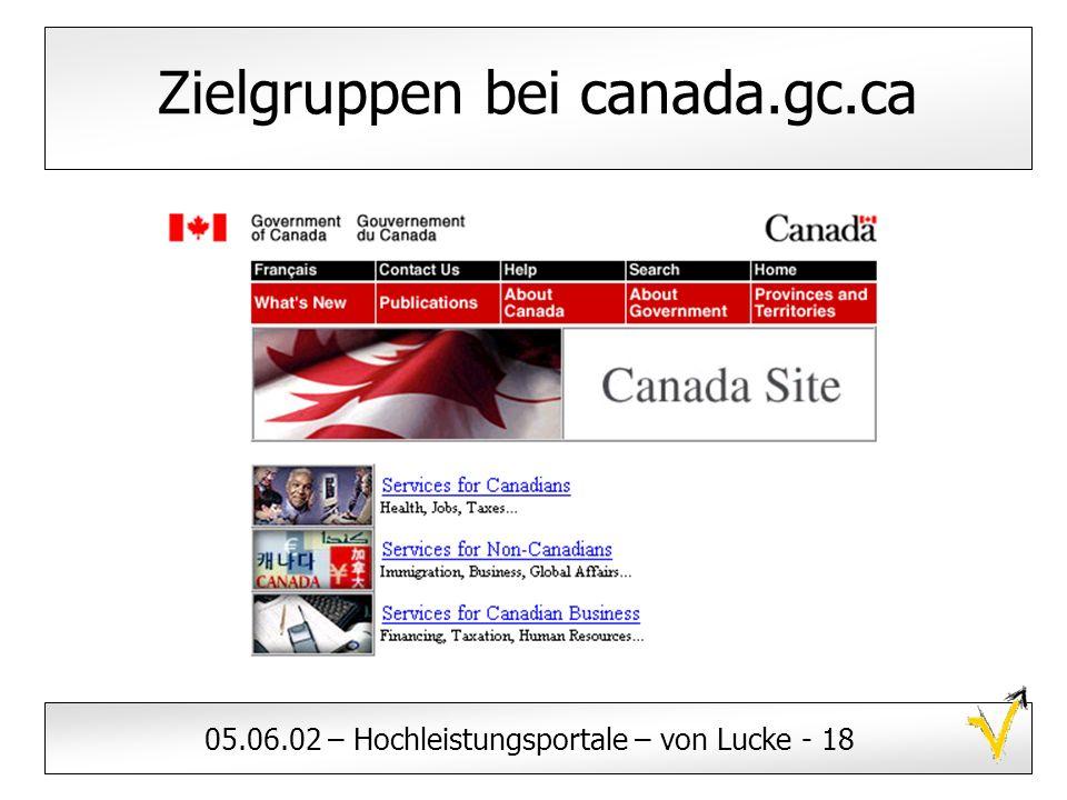 05.06.02 – Hochleistungsportale – von Lucke - 18 Zielgruppen bei canada.gc.ca
