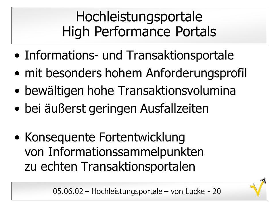 05.06.02 – Hochleistungsportale – von Lucke - 20 Hochleistungsportale High Performance Portals Informations- und Transaktionsportale mit besonders hoh