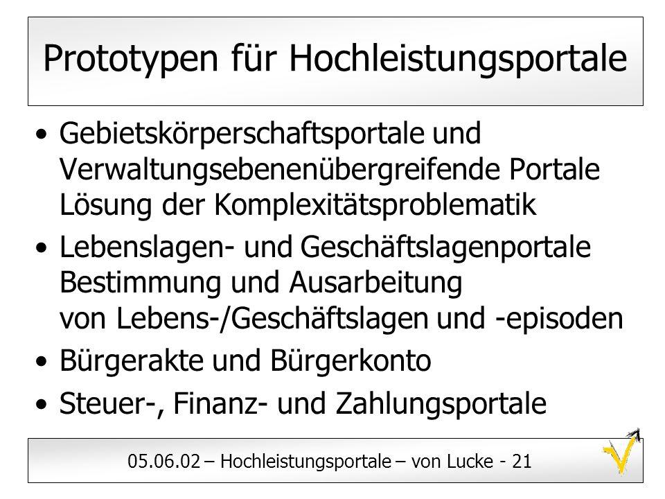 05.06.02 – Hochleistungsportale – von Lucke - 21 Prototypen für Hochleistungsportale Gebietskörperschaftsportale und Verwaltungsebenenübergreifende Po