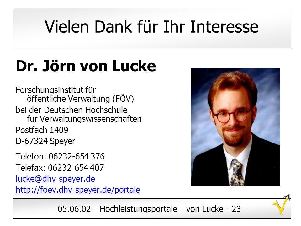 05.06.02 – Hochleistungsportale – von Lucke - 23 Vielen Dank für Ihr Interesse Dr. Jörn von Lucke Forschungsinstitut für öffentliche Verwaltung (FÖV)