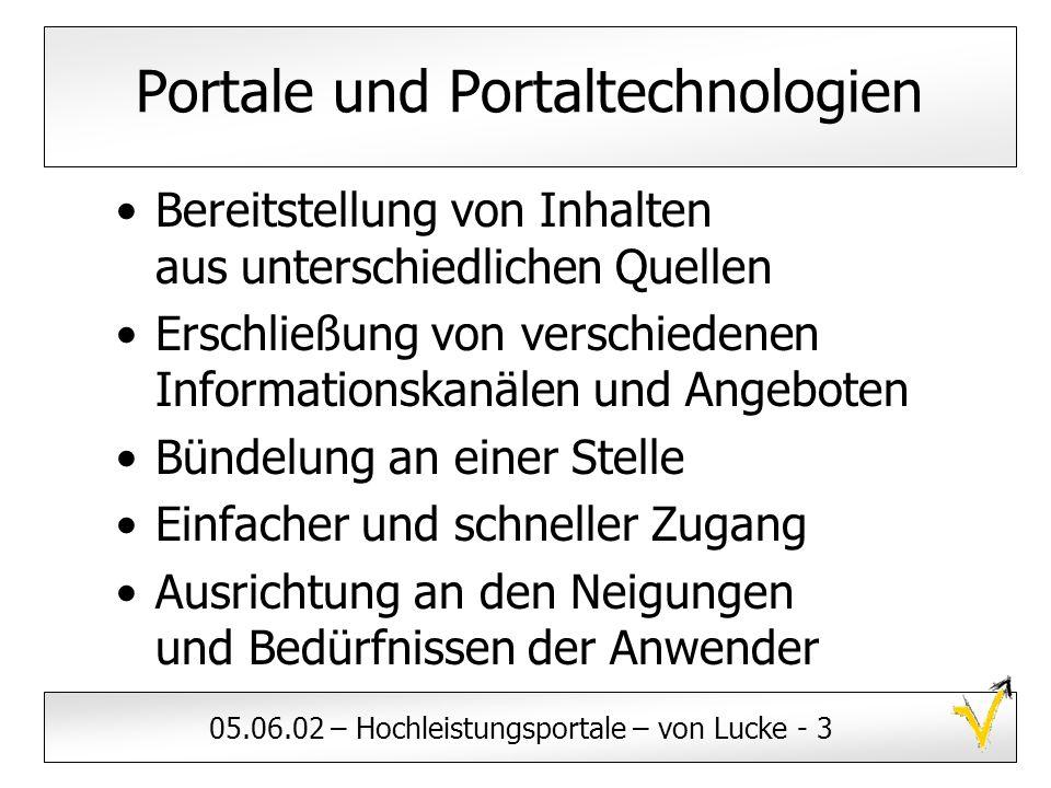 05.06.02 – Hochleistungsportale – von Lucke - 3 Portale und Portaltechnologien Bereitstellung von Inhalten aus unterschiedlichen Quellen Erschließung