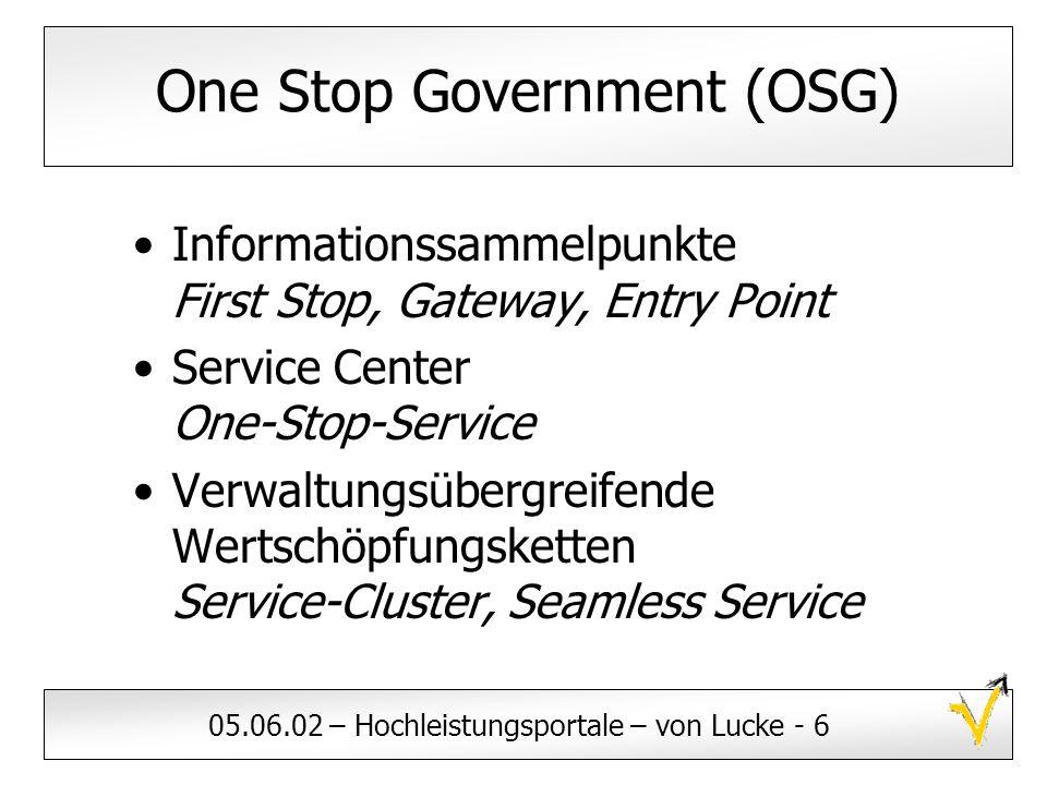 05.06.02 – Hochleistungsportale – von Lucke - 6 One Stop Government (OSG) Informationssammelpunkte First Stop, Gateway, Entry Point Service Center One