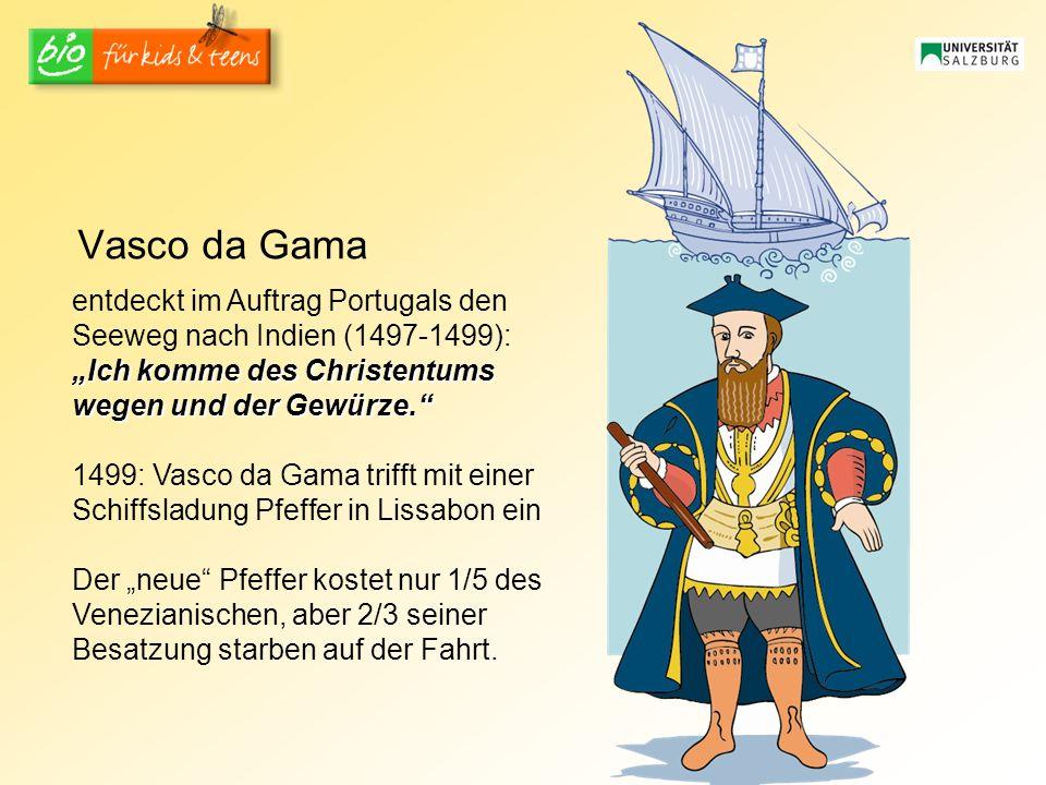 Vasco da Gama entdeckt im Auftrag Portugals den Seeweg nach Indien (1497-1499): Ich komme des Christentums wegen und der Gewürze. 1499: Vasco da Gama