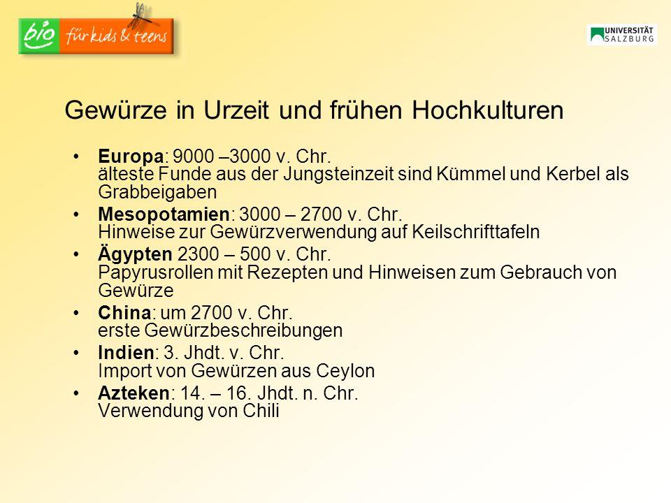 Gewürze in Urzeit und frühen Hochkulturen Europa: 9000 –3000 v.