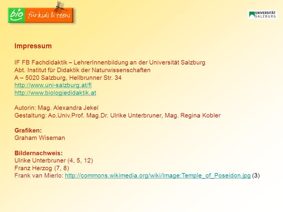 Impressum IF FB Fachdidaktik – LehrerInnenbildung an der Universität Salzburg Abt.