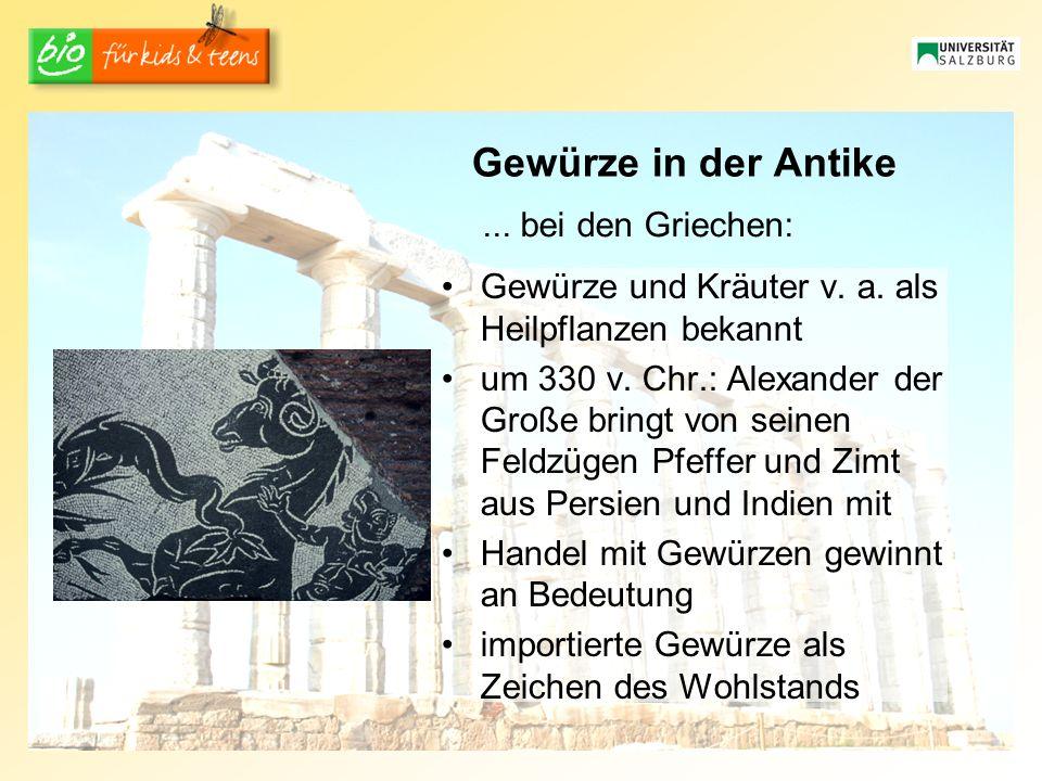 Gewürze in der Antike...bei den Griechen: Gewürze und Kräuter v.