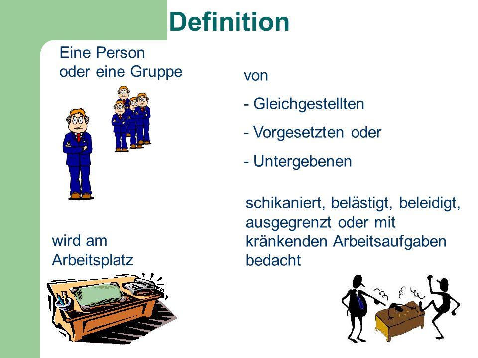 Eine Person oder eine Gruppe wird am Arbeitsplatz von - Gleichgestellten - Vorgesetzten oder - Untergebenen schikaniert, belästigt, beleidigt, ausgegr
