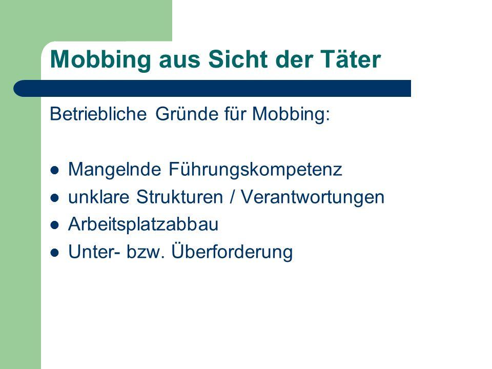 Mobbing aus Sicht der Täter Betriebliche Gründe für Mobbing: Mangelnde Führungskompetenz unklare Strukturen / Verantwortungen Arbeitsplatzabbau Unter-