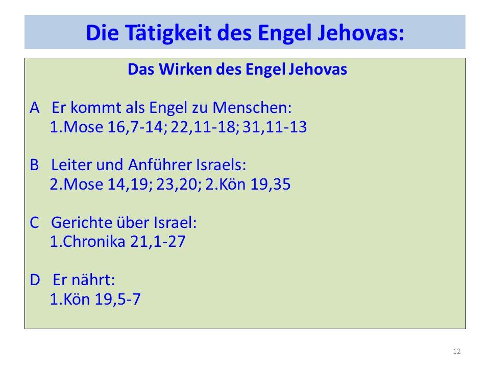 Die Tätigkeit des Engel Jehovas: Das Wirken des Engel Jehovas A Er kommt als Engel zu Menschen: 1.Mose 16,7-14; 22,11-18; 31,11-13 B Leiter und Anführer Israels: 2.Mose 14,19; 23,20; 2.Kön 19,35 C Gerichte über Israel: 1.Chronika 21,1-27 D Er nährt: 1.Kön 19,5-7 12
