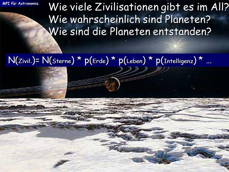 MPI für Astronomie Wie viele Zivilisationen gibt es im All? Wie wahrscheinlich sind Planeten? Wie sind die Planeten entstanden? N( Zivil. )= N( Sterne