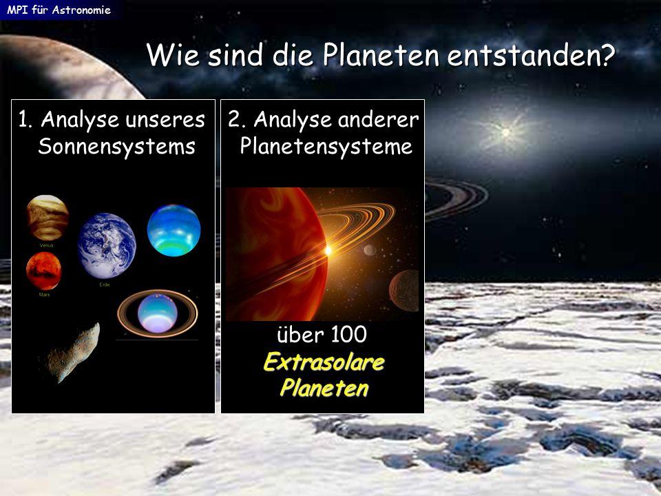 MPI für Astronomie Wie sind die Planeten entstanden? 2. Analyse anderer Planetensysteme Planetensysteme 1. Analyse unseres Sonnensystems Sonnensystems