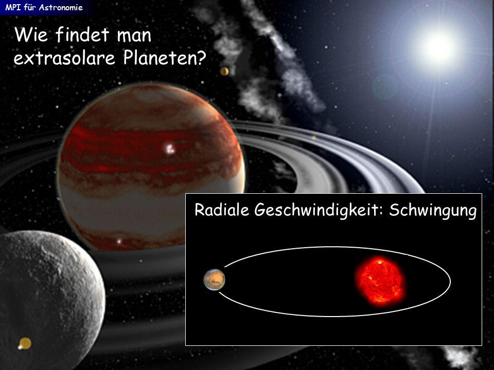 Wie findet man extrasolare Planeten? Radiale Geschwindigkeit: Schwingung MPI für Astronomie