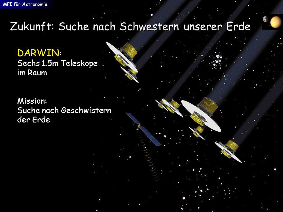 MPI für Astronomie DARWIN : Sechs 1.5m Teleskope im Raum Mission: Suche nach Geschwistern der Erde Zukunft: Suche nach Schwestern unserer Erde