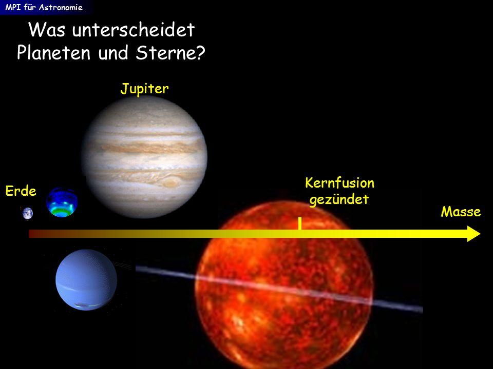 Was unterscheidet Planeten und Sterne? Masse Erde Jupiter MPI für Astronomie Kernfusion gezündet