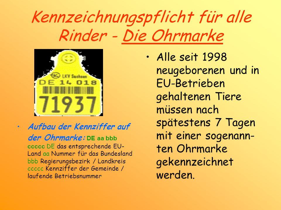 Kennzeichnungspflicht für alle Rinder - Die Ohrmarke Aufbau der Kennziffer auf der Ohrmarke: DE aa bbb ccccc DE das entsprechende EU- Land aa Nummer f