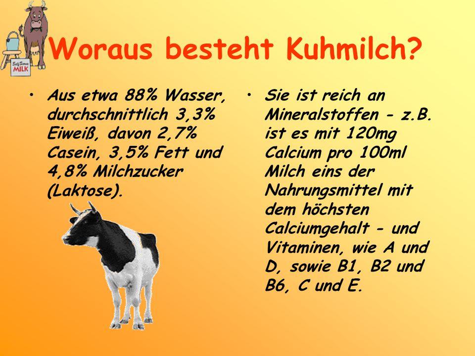 Aus etwa 88% Wasser, durchschnittlich 3,3% Eiweiß, davon 2,7% Casein, 3,5% Fett und 4,8% Milchzucker (Laktose). Sie ist reich an Mineralstoffen - z.B.