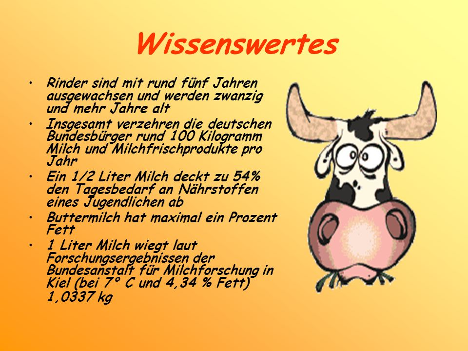 Wissenswertes Rinder sind mit rund fünf Jahren ausgewachsen und werden zwanzig und mehr Jahre alt Insgesamt verzehren die deutschen Bundesbürger rund