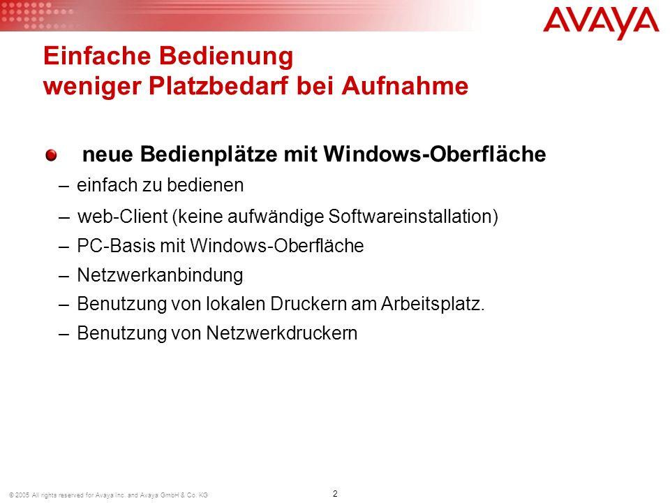 2 © 2005 All rights reserved for Avaya Inc. and Avaya GmbH & Co. KG Einfache Bedienung weniger Platzbedarf bei Aufnahme neue Bedienplätze mit Windows-