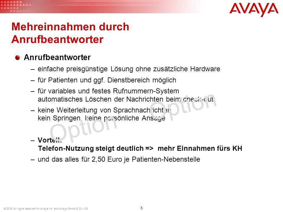 5 © 2005 All rights reserved for Avaya Inc. and Avaya GmbH & Co. KG Anrufbeantworter –einfache preisgünstige Lösung ohne zusätzliche Hardware –für Pat
