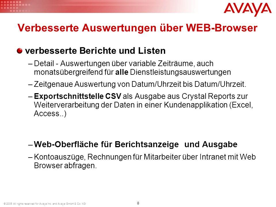 8 © 2005 All rights reserved for Avaya Inc. and Avaya GmbH & Co. KG verbesserte Berichte und Listen –Detail - Auswertungen über variable Zeiträume, au