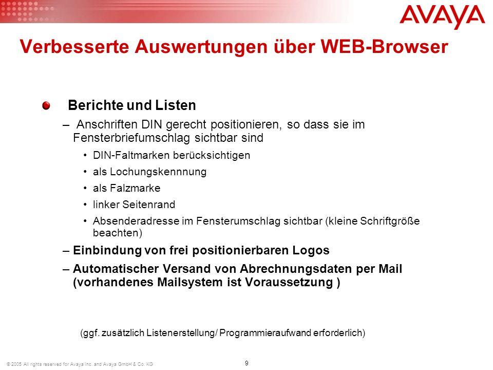 9 © 2005 All rights reserved for Avaya Inc. and Avaya GmbH & Co. KG Berichte und Listen – Anschriften DIN gerecht positionieren, so dass sie im Fenste