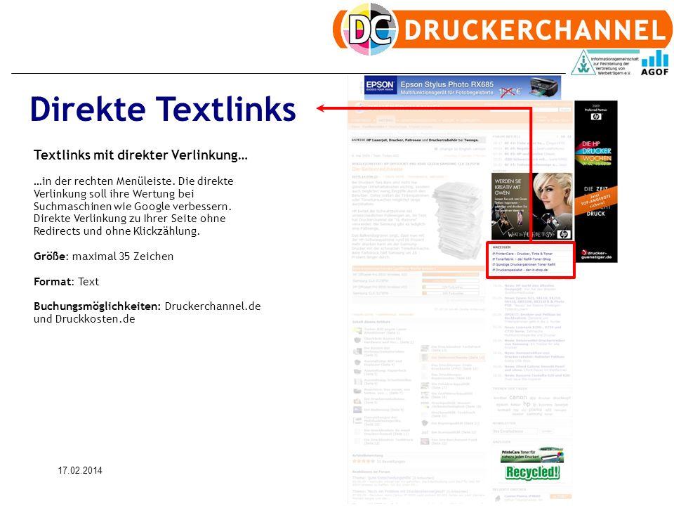 17.02.201412 Textlinks mit direkter Verlinkung… …in der rechten Menüleiste.