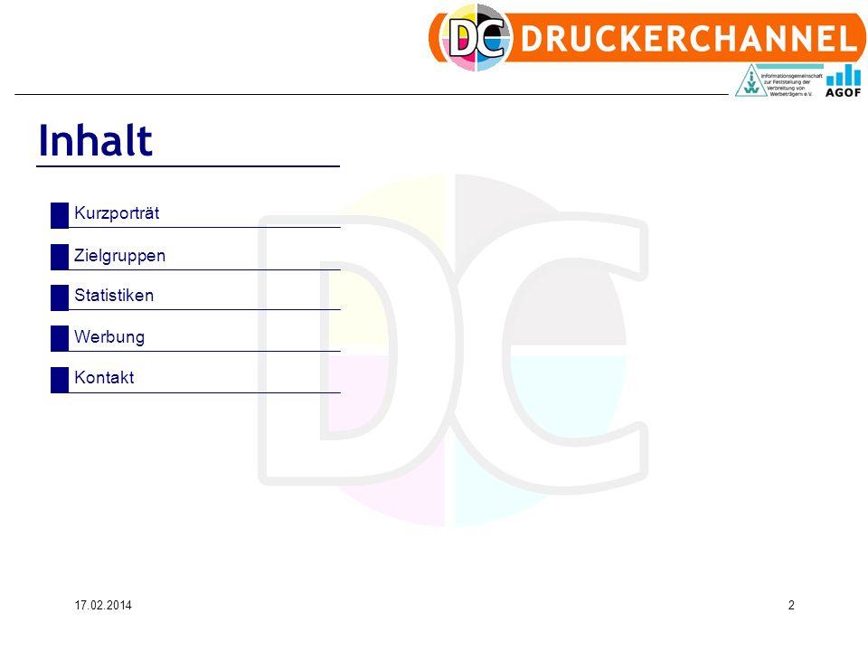 17.02.20142 Inhalt Kurzporträt Zielgruppen Statistiken Werbung Kontakt