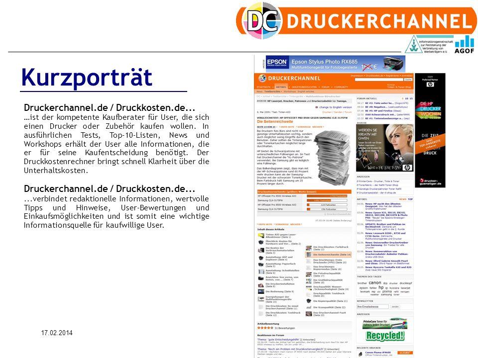 17.02.20143 Kurzporträt Druckerchannel.de / Druckkosten.de... …ist der kompetente Kaufberater für User, die sich einen Drucker oder Zubehör kaufen wol