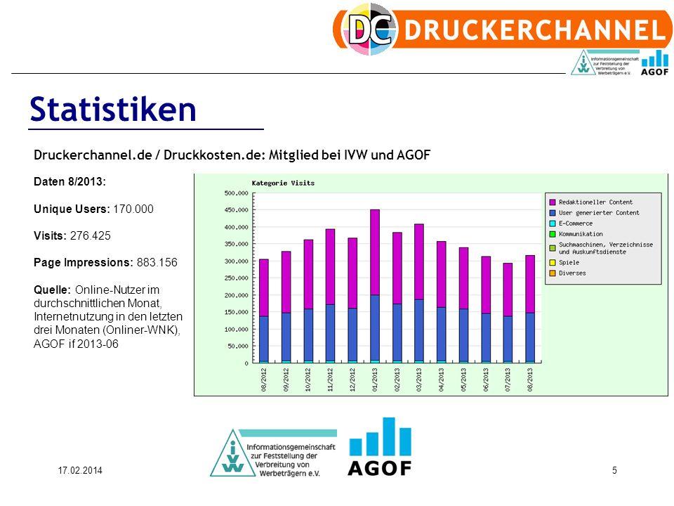 17.02.20145 Statistiken Druckerchannel.de / Druckkosten.de: Mitglied bei IVW und AGOF Daten 8/2013: Unique Users: 170.000 Visits: 276.425 Page Impress