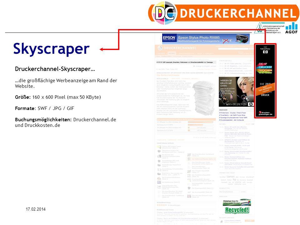 17.02.20147 Skyscraper Druckerchannel-Skyscraper… …die großflächige Werbeanzeige am Rand der Website.