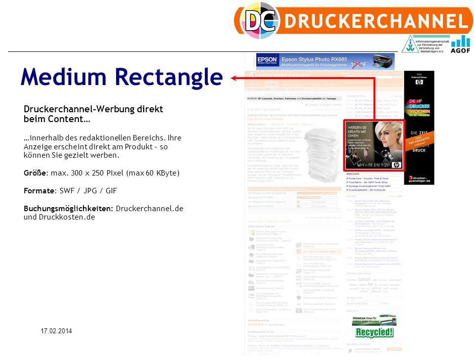 17.02.20149 Druckerchannel-Werbung direkt beim Content… …innerhalb des redaktionellen Bereichs.