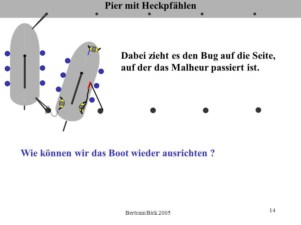 Bertram Birk 2005 14 Pier mit Heckpfählen Dabei zieht es den Bug auf die Seite, auf der das Malheur passiert ist. Wie können wir das Boot wieder ausri