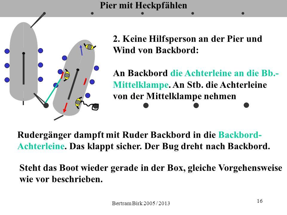 Bertram Birk 2005 / 2013 16 Pier mit Heckpfählen 2. Keine Hilfsperson an der Pier und Wind von Backbord: An Backbord die Achterleine an die Bb.- Mitte