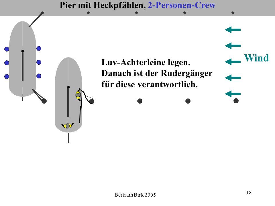 Bertram Birk 2005 18 Pier mit Heckpfählen, 2-Personen-Crew Wind Luv-Achterleine legen. Danach ist der Rudergänger für diese verantwortlich.