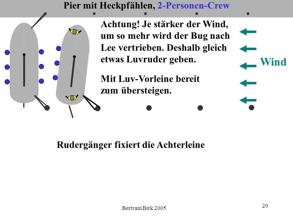 Bertram Birk 2005 20 Wind Mit Luv-Vorleine bereit zum übersteigen. Achtung! Je stärker der Wind, um so mehr wird der Bug nach Lee vertrieben. Deshalb