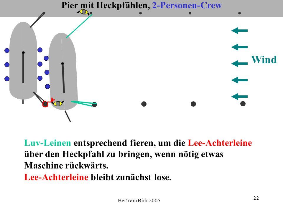 Bertram Birk 2005 22 Pier mit Heckpfählen, 2-Personen-Crew Wind Luv-Leinen entsprechend fieren, um die Lee-Achterleine über den Heckpfahl zu bringen,