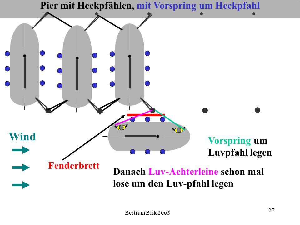 Bertram Birk 2005 27 Pier mit Heckpfählen, mit Vorspring um Heckpfahl Wind Danach Luv-Achterleine schon mal lose um den Luv-pfahl legen Fenderbrett Vo