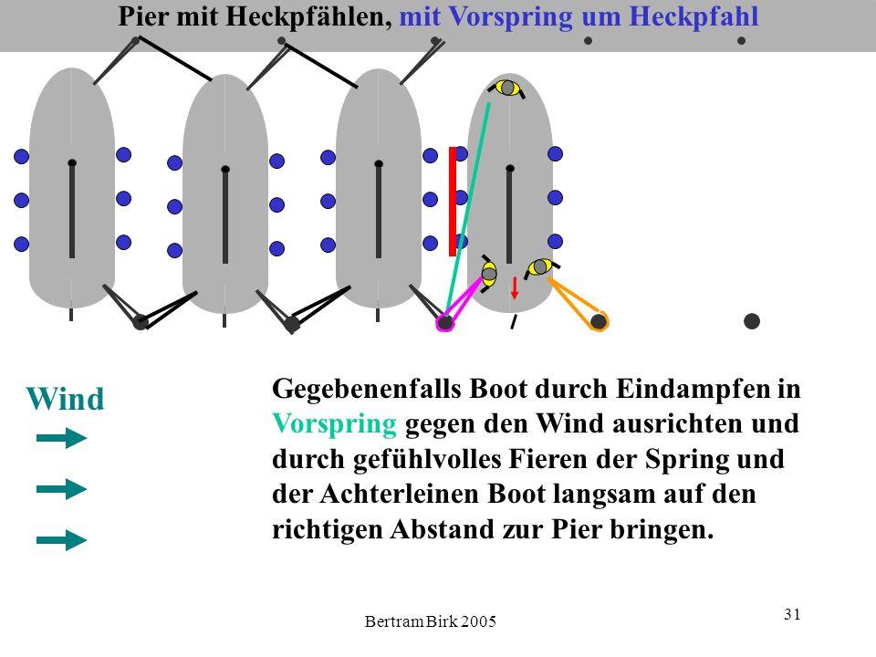 Bertram Birk 2005 31 Pier mit Heckpfählen, mit Vorspring um Heckpfahl Wind Gegebenenfalls Boot durch Eindampfen in Vorspring gegen den Wind ausrichten
