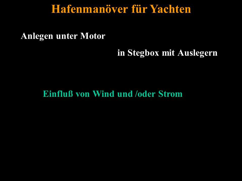 Bertram Birk 2005/2009 45 Hafenmanöver für Yachten Einfluß von Wind und /oder Strom Anlegen unter Motor in Stegbox mit Auslegern