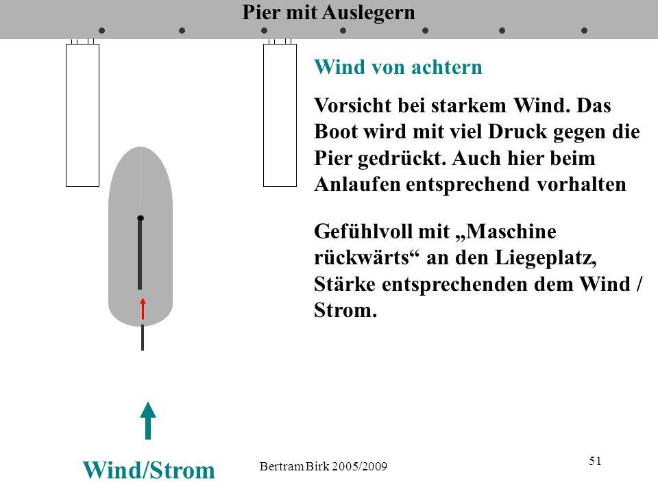 Bertram Birk 2005/2009 51 Pier mit Auslegern Wind von achtern Vorsicht bei starkem Wind. Das Boot wird mit viel Druck gegen die Pier gedrückt. Auch hi