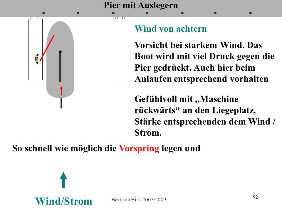 Bertram Birk 2005/2009 52 Pier mit Auslegern Wind von achtern Vorsicht bei starkem Wind. Das Boot wird mit viel Druck gegen die Pier gedrückt. Auch hi